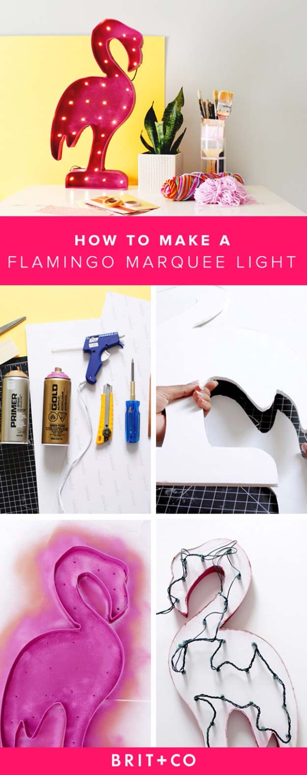 Cool Ways To Use Christmas Lights - Flamingo Marquee Light - Best Easy DIY Ideas for String Lights for Room Decoration, Home Decor and Creative DIY Bedroom Lighting - Creative Christmas Light Tutorials with Step by Step Instructions - Creative Crafts and DIY Projects for Teens, Teenagers and Adults #diyideas #stringlights #diydecor #teencrafts