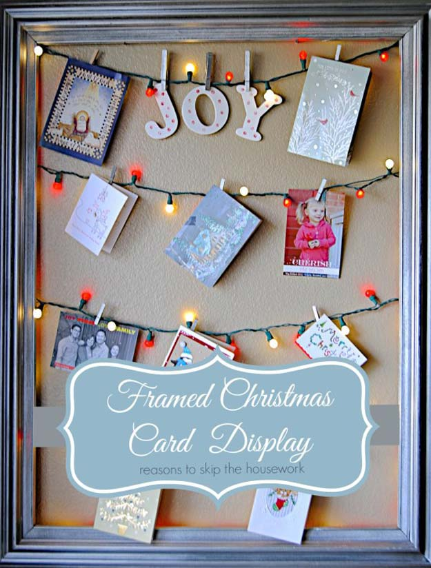 Cool Ways To Use Christmas Lights - Framed Christmas Card Display - Best Easy DIY Ideas for String Lights for Room Decoration, Home Decor and Creative DIY Bedroom Lighting - Creative Christmas Light Tutorials with Step by Step Instructions - Creative Crafts and DIY Projects for Teens, Teenagers and Adults http://diyprojectsforteens.com/diy-projects-string-lights