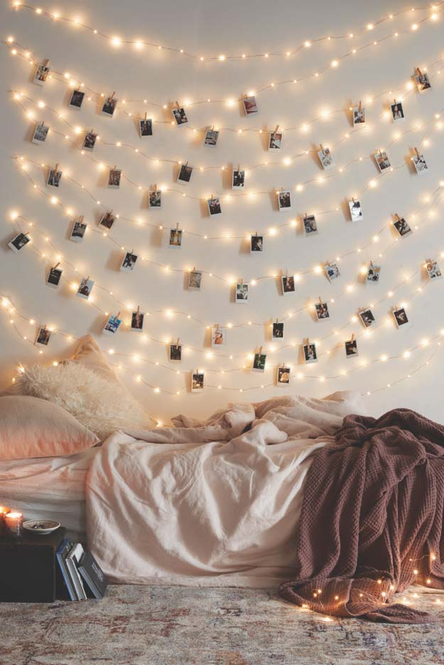 Cool Ways To Use Christmas Lights - Frameless Photos - Best Easy DIY Ideas for String Lights for Room Decoration, Home Decor and Creative DIY Bedroom Lighting - Creative Christmas Light Tutorials with Step by Step Instructions - Creative Crafts and DIY Projects for Teens, Teenagers and Adults #diyideas #stringlights #diydecor #teencrafts