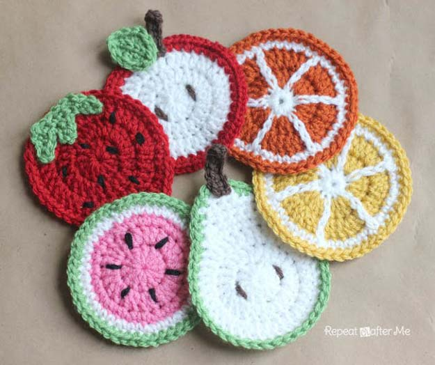 Simple Crochet Patterns and Projects for Teens - Crochet Fruit Coasters - Best Free Patterns and Tutorials for Crocheting Cute DIY Gifts, Room Decor and Accessories - How To for Beginners - Learn How To Make a Headband, Scarf, Hat, Animals and Clothes DIY Projects and Crafts for Teenagers #crochet #crafts #teencrafts #freecrochet #crochetpatterns