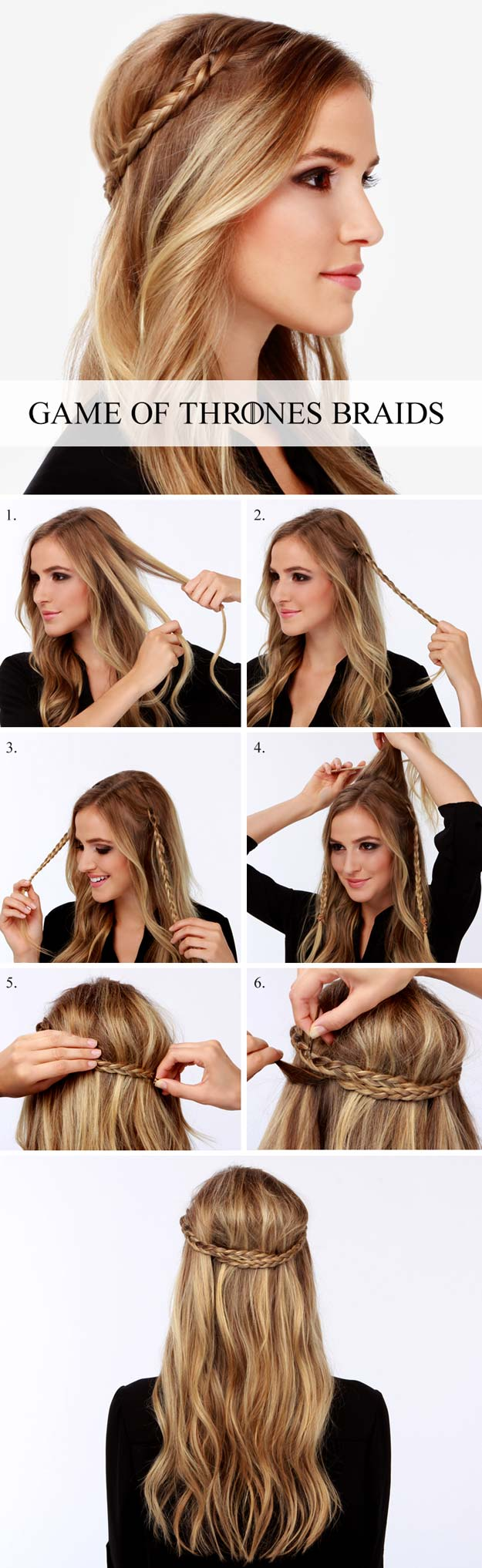 Best Hair Braiding Tutorials - Game of Thrones Braid Tutorial! - Easy Step by Step Tutorials for Braids - How To Braid Fishtail, French Braids, Flower Crown, Side Braids, Cornrows, Updos - Cool Braided Hairstyles for Girls, Teens and Women - School, Day and Evening, Boho, Casual and Formal Looks #hairstyles #braiding #braidingtutorials #diyhair
