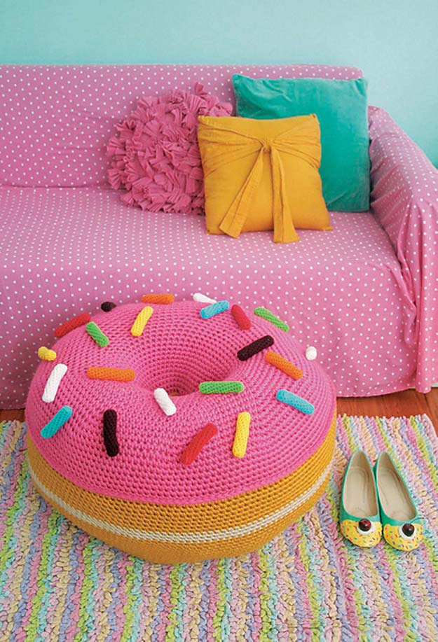 Crochet Patterns and Projects for Teens - Giant Donut Floor Pouf - Best Free Patterns and Tutorials for Crocheting Cute DIY Gifts, Room Decor and Accessories - How To for Beginners - Learn How To Make a Headband, Scarf, Hat, Animals and Clothes DIY Projects and Crafts for Teenagers #crochet #crafts #teencrafts #freecrochet #crochetpatterns