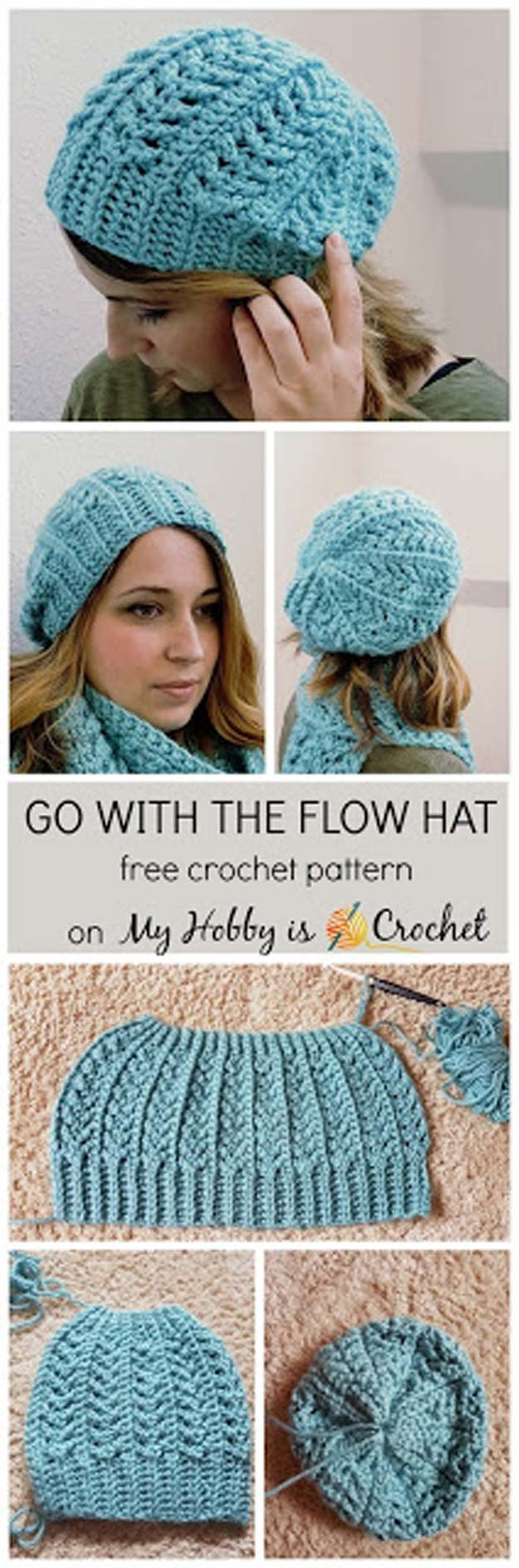 Crochet Patterns and Projects for Teens - Go with the Flow Hat - Best Free Patterns and Tutorials for Crocheting Cute DIY Gifts, Room Decor and Accessories - How To for Beginners - Learn How To Make a Headband, Scarf, Hat, Animals and Clothes DIY Projects and Crafts for Teenagers #crochet #crafts #teencrafts #freecrochet #crochetpatterns