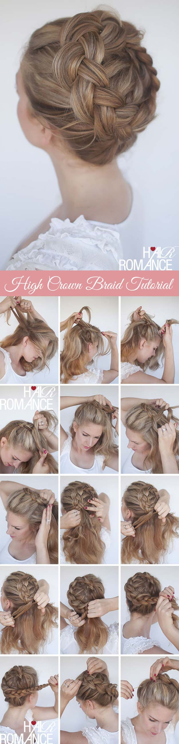 Best Hair Braiding Tutorials - High Braided Crown Tutorial - Easy Step by Step Tutorials for Braids - How To Braid Fishtail, French Braids, Flower Crown, Side Braids, Cornrows, Updos - Cool Braided Hairstyles for Girls, Teens and Women - School, Day and Evening, Boho, Casual and Formal Looks #hairstyles #braiding #braidingtutorials #diyhair
