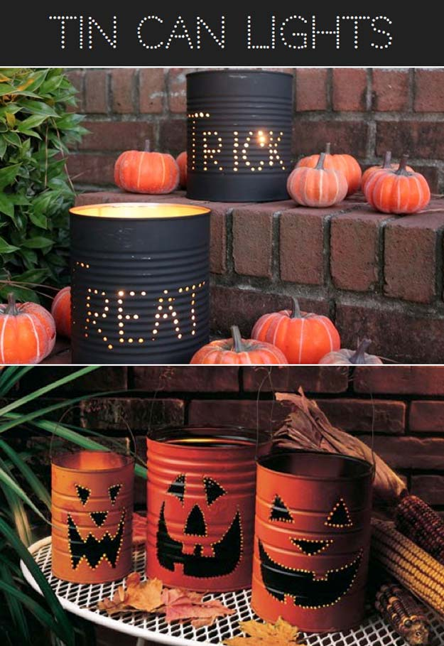 Cool Ways To Use Christmas Lights - Halloween Tin Can Luminaries - Best Easy DIY Ideas for String Lights for Room Decoration, Home Decor and Creative DIY Bedroom Lighting - Creative Christmas Light Tutorials with Step by Step Instructions - Creative Crafts and DIY Projects for Teens, Teenagers and Adults http://diyprojectsforteens.com/diy-projects-string-lights