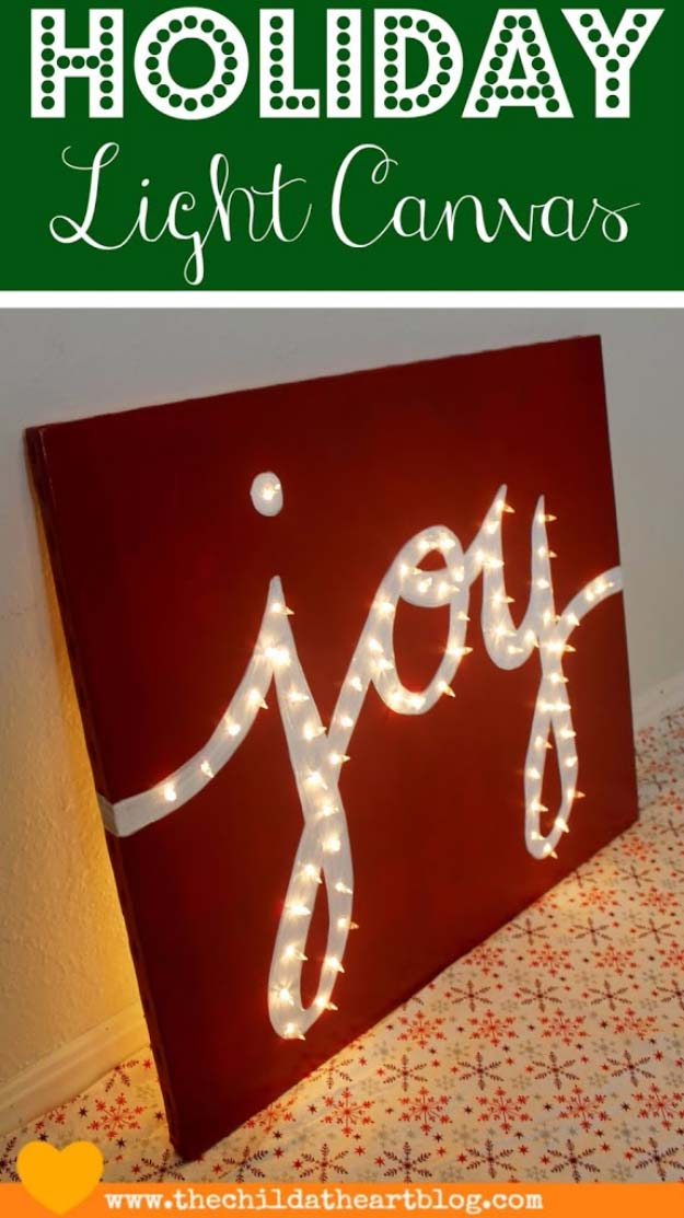 Cool Ways To Use Christmas Lights - Holiday Joy Light Canvas - Best Easy DIY Ideas for String Lights for Room Decoration, Home Decor and Creative DIY Bedroom Lighting - Creative Christmas Light Tutorials with Step by Step Instructions - Creative Crafts and DIY Projects for Teens, Teenagers and Adults http://diyprojectsforteens.com/diy-projects-string-lights