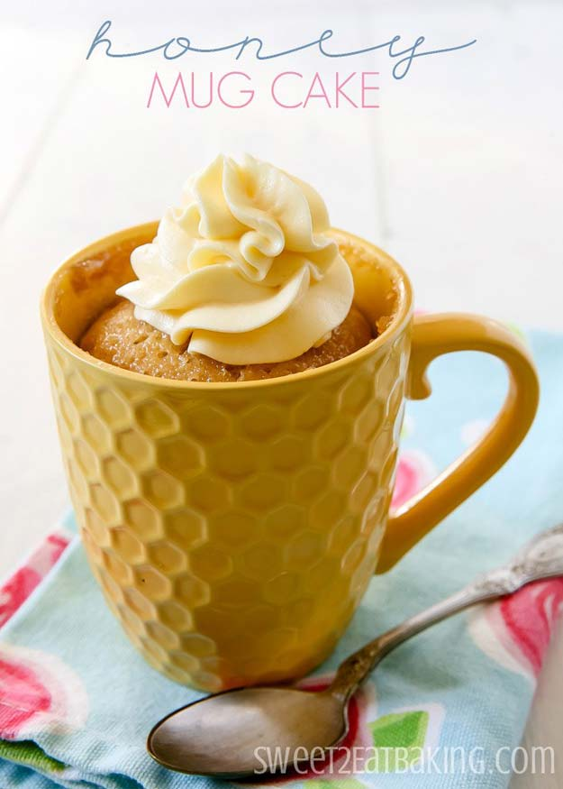 Easy Mug Cake Recipes - Honey Mug Cake - Best Microwave Cakes and Ideas for Baking Ckae in The Microwave - Chocolate, Vanilla, Healthy, Snickerdoodle, Peanut Butter, Bownie and Nutella - Step by Step Tutorials and Instructions - Besy DIY Projects and Recipes for Teens and Teenagers -