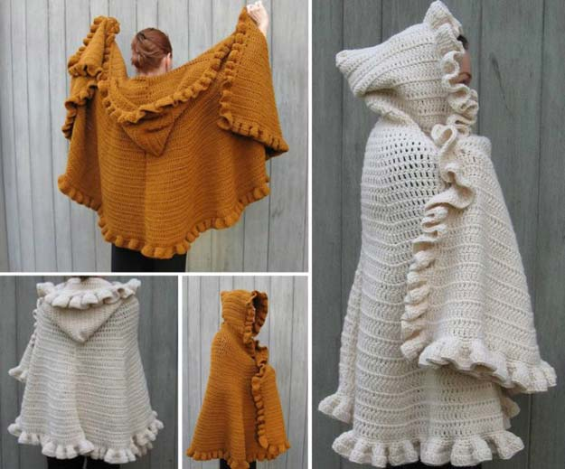 Crochet Patterns and Projects for Teens - Hooded Cape Crochet - Best Free Patterns and Tutorials for Crocheting Cute DIY Gifts, Room Decor and Accessories - How To for Beginners - Learn How To Make a Headband, Scarf, Hat, Animals and Clothes DIY Projects and Crafts for Teenagers #crochet #crafts #teencrafts #freecrochet #crochetpatterns
