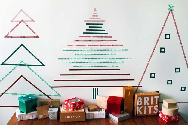 Washi Tape Crafts - How to Create Christmas Wall Trees Using Nothing But Tape - DIY Projects Made With Washi Tape - Wall Art, Frames, Cards, Pencils, Room Decor and DIY Gifts, Back To School Supplies - Creative, Fun Craft Ideas for Teens, Tweens and Teenagers - Step by Step Tutorials and Instructions http://diyprojectsforteens.com/washi-tape-ideas
