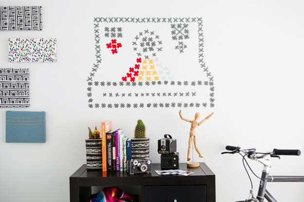 "Washi Tape Crafts - How to Create Washi ""Cross Stitch"" Wall Art - DIY Projects Made With Washi Tape - Wall Art, Frames, Cards, Pencils, Room Decor and DIY Gifts, Back To School Supplies - Creative, Fun Craft Ideas for Teens, Tweens and Teenagers - Step by Step Tutorials and Instructions"