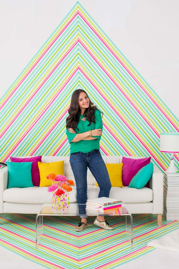 Washi Tape Crafts - How to DIY Temporary Wallpaper Using Washi Tape - DIY Projects Made With Washi Tape - Wall Art, Frames, Cards, Pencils, Room Decor and DIY Gifts, Back To School Supplies - Creative, Fun Craft Ideas for Teens, Tweens and Teenagers - Step by Step Tutorials and Instructions