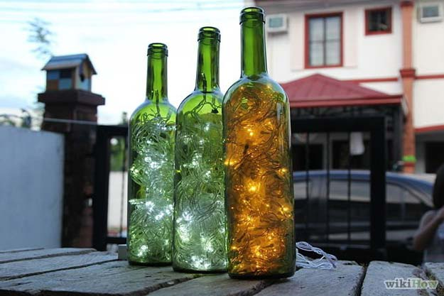 Cool Ways To Use Christmas Lights - How to Make Wine Bottle Accent Lights - Best Easy DIY Ideas for String Lights for Room Decoration, Home Decor and Creative DIY Bedroom Lighting - Creative Christmas Light Tutorials with Step by Step Instructions - Creative Crafts and DIY Projects for Teens, Teenagers and Adults http://diyprojectsforteens.com/diy-projects-string-lights