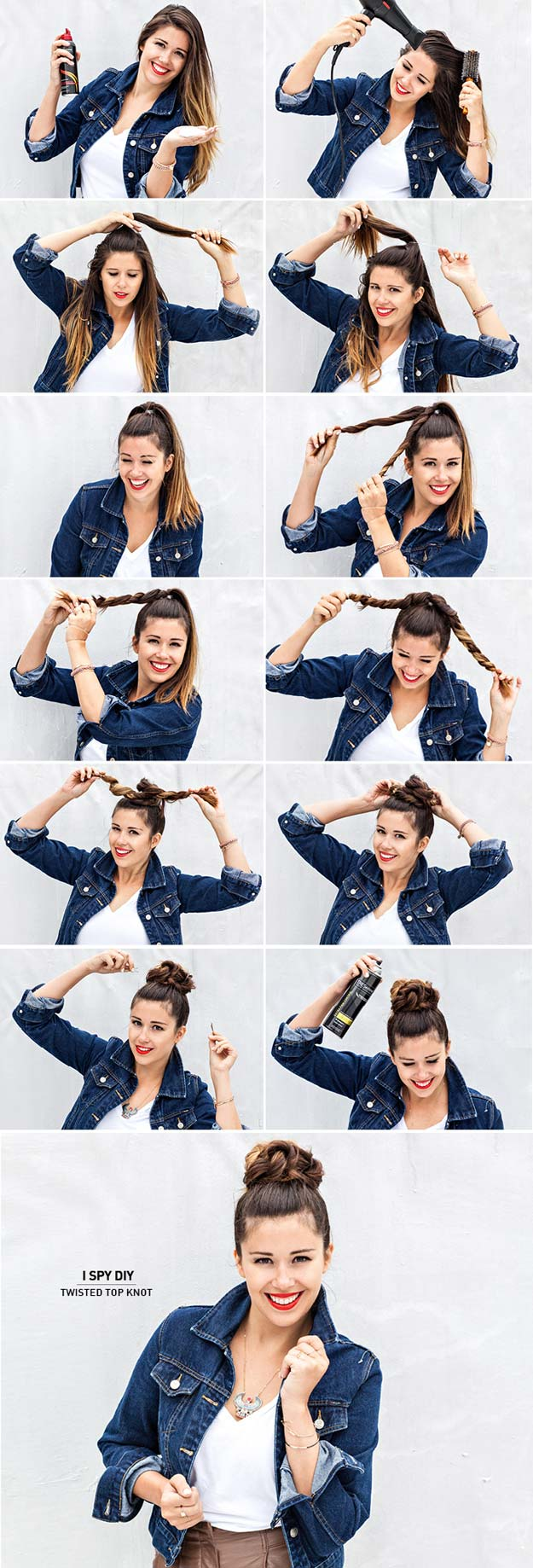 Best Hair Braiding Tutorials - Twisted Top Knot - Easy Step by Step Tutorials for Braids - How To Braid Fishtail, French Braids, Flower Crown, Side Braids, Cornrows, Updos - Cool Braided Hairstyles for Girls, Teens and Women - School, Day and Evening, Boho, Casual and Formal Looks #hairstyles #braiding #braidingtutorials #diyhair