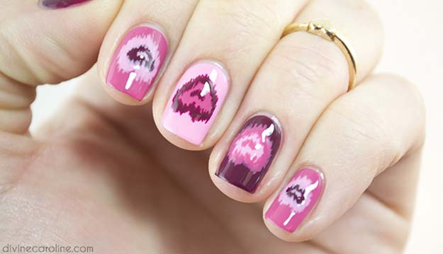 Valentine Nail Art Ideas - Ikat Stop Loving You - Cute and Cool Looks For Valentines Day Nails - Hearts, Gradients, Red, Black and Pink Designs - Easy Ideas for DIY Manicures with Step by Step Tutorials - Fun Ideas for Teens, Teenagers and Women http://diyprojectsforteens.com/valentine-nail-art-ideas