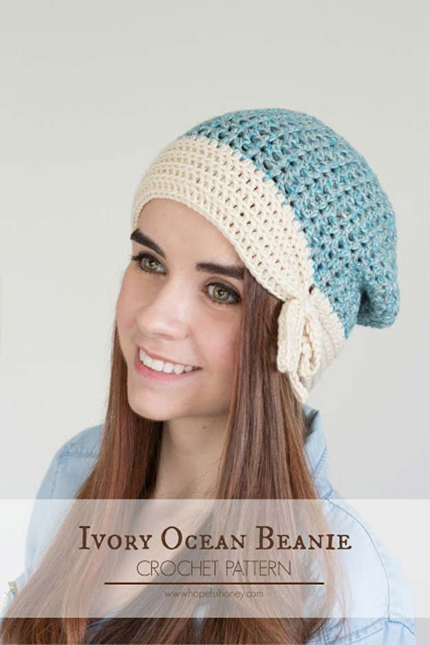Crochet Patterns and Projects for Teens - Ivory Ocean Beanie - Best Free Patterns and Tutorials for Crocheting Cute DIY Gifts, Room Decor and Accessories - How To for Beginners - Learn How To Make a Headband, Scarf, Hat, Animals and Clothes DIY Projects and Crafts for Teenagers #crochet #crafts #teencrafts #freecrochet #crochetpatterns