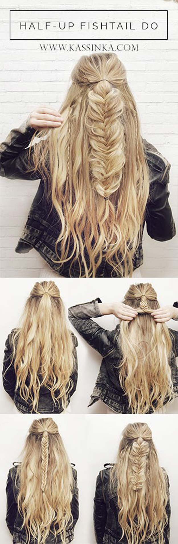 Best Hair Braiding Tutorials - Half-Up Fishtail Tutorial - Easy Step by Step Tutorials for Braids - How To Braid Fishtail, French Braids, Flower Crown, Side Braids, Cornrows, Updos - Cool Braided Hairstyles for Girls, Teens and Women - School, Day and Evening, Boho, Casual and Formal Looks #hairstyles #braiding #braidingtutorials #diyhair