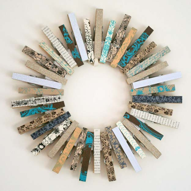 Washi Tape Crafts - Kirsty's Fun Clothespin Wreath - DIY Projects Made With Washi Tape - Wall Art, Frames, Cards, Pencils, Room Decor and DIY Gifts, Back To School Supplies - Creative, Fun Craft Ideas for Teens, Tweens and Teenagers - Step by Step Tutorials and Instructions http://diyprojectsforteens.com/washi-tape-ideas