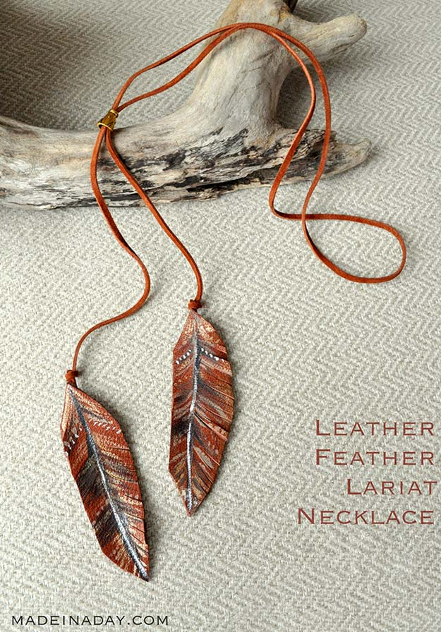 DIY Necklace Ideas - Leather Feather Lariat Necklace - Pendant, Beads, Statement, Choker, Layered Boho, Chain and Simple Looks - Creative Jewlery Making Ideas for Women and Teens, Girls - Crafts and Cool Fashion Ideas for Teenagers