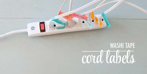 Washi Tape Crafts - Label Cords - DIY Projects Made With Washi Tape - Wall Art, Frames, Cards, Pencils, Room Decor and DIY Gifts, Back To School Supplies - Creative, Fun Craft Ideas for Teens, Tweens and Teenagers - Step by Step Tutorials and Instructions