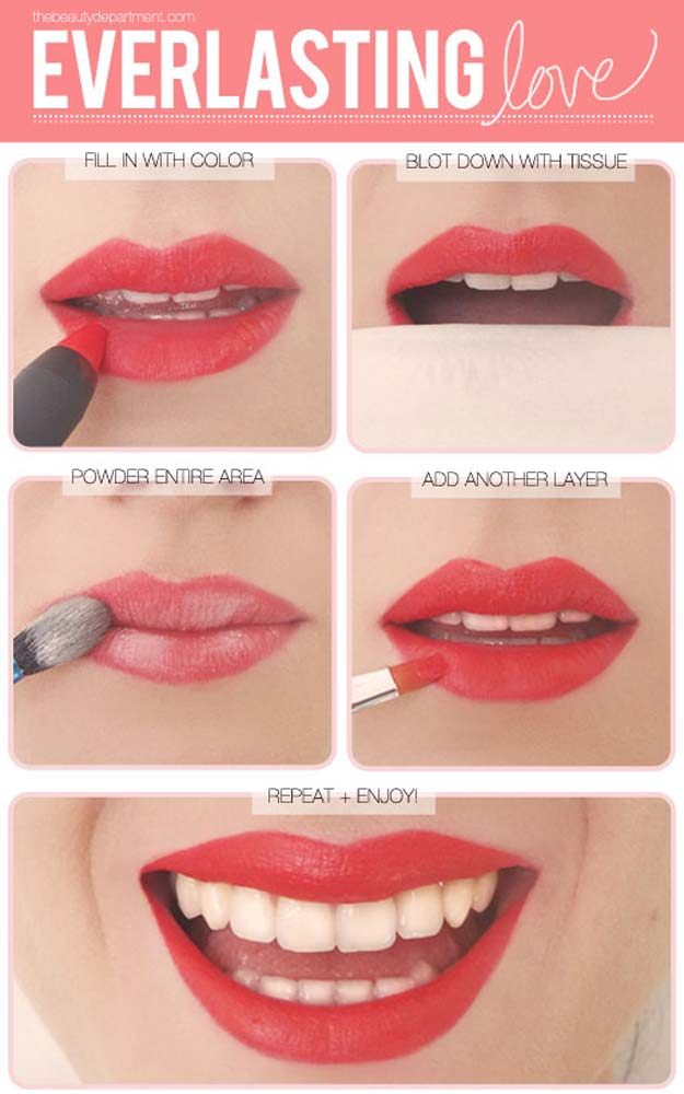 Lipstick Tutorials - Best Step by Step Makeup Tutorial How To - Lipstick Longevity - Easy and Quick Ways to Apply Lipstick and Awesome Beauty Ideas - Cool Ideas for Teen Makeup for School, Party and Special Occasion - Makeup Tutorials for Beginners - Lip Liner Tips and Tricks to Add Volume, DIY Lip Techniques for Fuller Lips - DIY Projects and Crafts for Teens