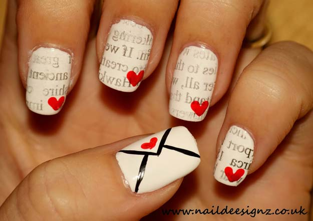 Valentine Nail Art Ideas - Love Letter Nail Art - Cute and Cool Looks For Valentines Day Nails - Hearts, Gradients, Red, Black and Pink Designs - Easy Ideas for DIY Manicures with Step by Step Tutorials - Fun Ideas for Teens, Teenagers and Women http://diyprojectsforteens.com/valentine-nail-art-ideas