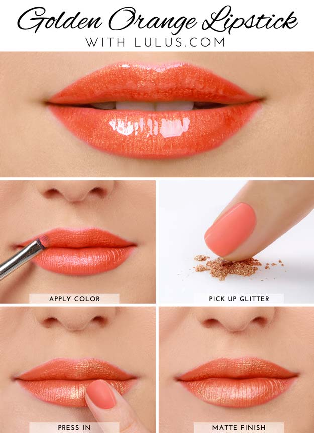 Lipstick Tutorials - Best Step by Step Makeup Tutorial How To - Lulus How-To Golden Orange Lipstick Tutorial - Easy and Quick Ways to Apply Lipstick and Awesome Beauty Ideas - Cool Ideas for Teen Makeup for School, Party and Special Occasion - Makeup Tutorials for Beginners - Lip Liner Tips and Tricks to Add Volume, DIY Lip Techniques for Fuller Lips - DIY Projects and Crafts for Teens http://diyprojectsforteens.com/best-lipstick-tutorials