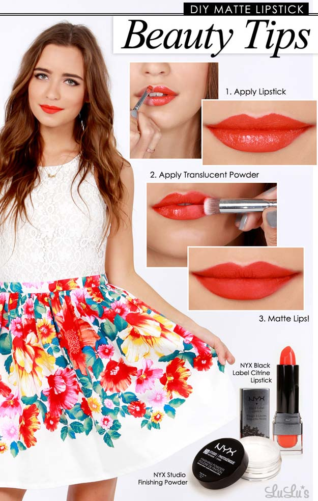 Lipstick Tutorials - Best Step by Step Makeup Tutorial How To - Make Any Lipstick Matte - Easy and Quick Ways to Apply Lipstick and Awesome Beauty Ideas - Cool Ideas for Teen Makeup for School, Party and Special Occasion - Makeup Tutorials for Beginners - Lip Liner Tips and Tricks to Add Volume, DIY Lip Techniques for Fuller Lips - DIY Projects and Crafts for Teens http://diyprojectsforteens.com/best-lipstick-tutorials