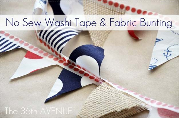 Washi Tape Crafts - Make No-Sew Washi Tape Bunting - DIY Projects Made With Washi Tape - Wall Art, Frames, Cards, Pencils, Room Decor and DIY Gifts, Back To School Supplies - Creative, Fun Craft Ideas for Teens, Tweens and Teenagers - Step by Step Tutorials and Instructions