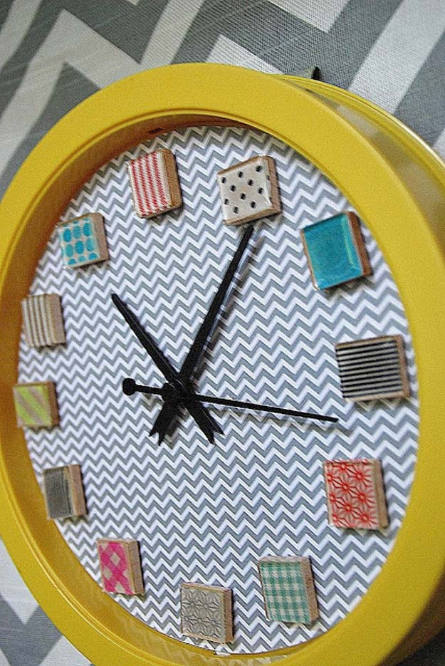 Washi Tape Crafts - Make a Washi Tape Clock - DIY Projects Made With Washi Tape - Wall Art, Frames, Cards, Pencils, Room Decor and DIY Gifts, Back To School Supplies - Creative, Fun Craft Ideas for Teens, Tweens and Teenagers - Step by Step Tutorials and Instructions http://diyprojectsforteens.com/washi-tape-ideas