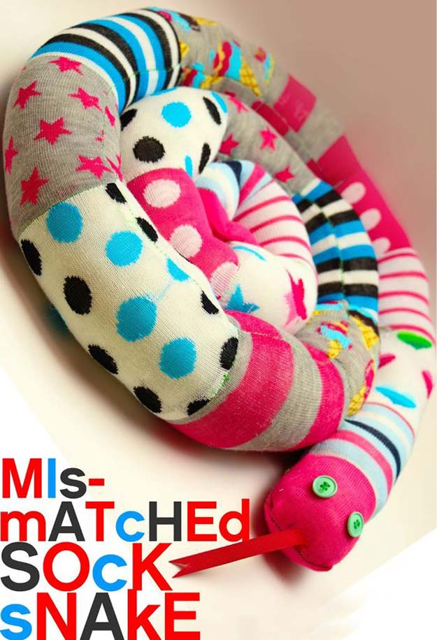 Cool Crafts Made With Old Socks - Mismatched Socks - Sew a Sock Snake - Fun DIY Projects and Gifts You Can Make With A Sock - Easy DIY Ideas for Teens, Teenagers, Kids and Adults - Step by Step Tutorials and Instructions for Making Room Decor, Animals, Cat, Rabbit, Owl, Puppets, Snowman, Gloves