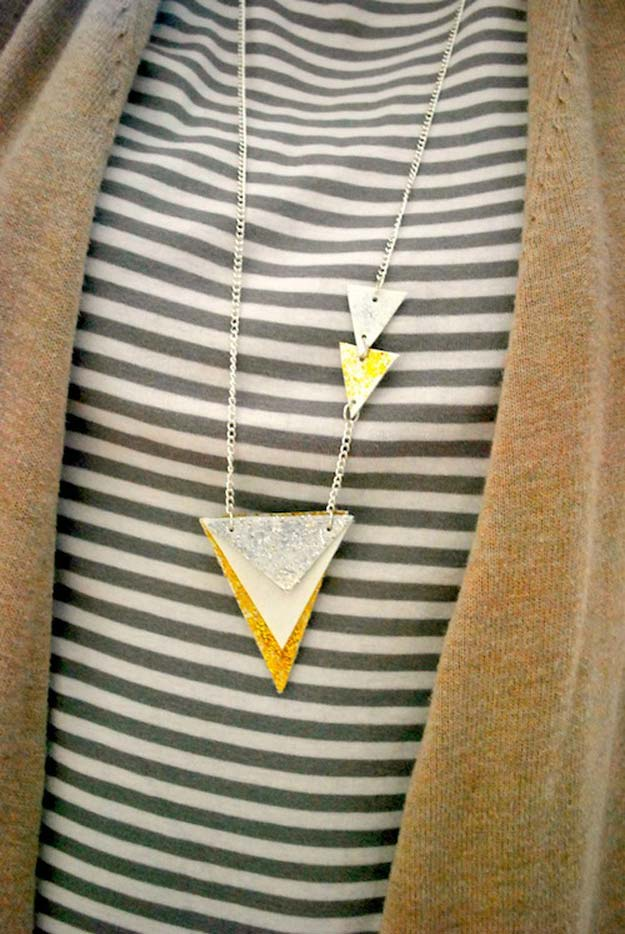 DIY Necklace Ideas - ModPodge Geometric Necklace - Pendant, Beads, Statement, Choker, Layered Boho, Chain and Simple Looks - Creative Jewlery Making Ideas for Women and Teens, Girls - Crafts and Cool Fashion Ideas for Teenagers