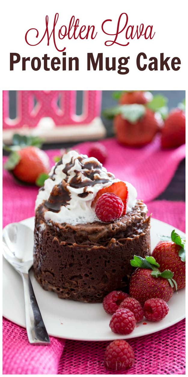 Easy Mug Cake Recipes - Molten Lava Protein Mug Cake - Best Microwave Cakes and Ideas for Baking Ckae in The Microwave - Chocolate, Vanilla, Healthy, Snickerdoodle, Peanut Butter, Bownie and Nutella - Step by Step Tutorials and Instructions - Besy DIY Projects and Recipes for Teens and Teenagers -