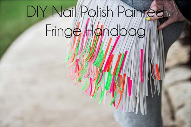 DIY Crafts Using Nail Polish - Nail Polish Painted Fringe Handbag - Fun, Cool, Easy and Cheap Craft Ideas for Girls, Teens, Tweens and Adults | Wire Flowers, Glue Gun Craft Projects and Jewelry Made From nailpolish - Water Marble Tutorials and How To With Step by Step Instructions http://diyprojectsforteens.com/best-nail-polish-crafts