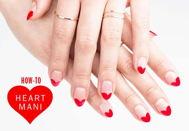 Valentine Nail Art Ideas - Nail Art How-To: Heart to Heart Mani - Cute and Cool Looks For Valentines Day Nails - Hearts, Gradients, Red, Black and Pink Designs - Easy Ideas for DIY Manicures with Step by Step Tutorials - Fun Ideas for Teens, Teenagers and Women http://diyprojectsforteens.com/valentine-nail-art-ideas