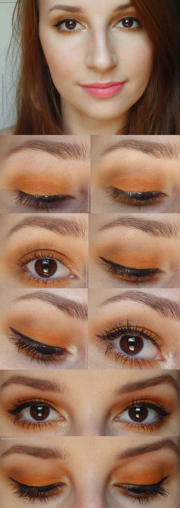 Best Eyeshadow Tutorials - Orange Eye Makeup - Easy Step by Step How To For Eye Shadow - Cool Makeup Tricks and Eye Makeup Tutorial With Instructions - Quick Ways to Do Smoky Eye, Natural Makeup, Looks for Day and Evening, Brown and Blue Eyes - Cool Ideas for Beginners and Teens