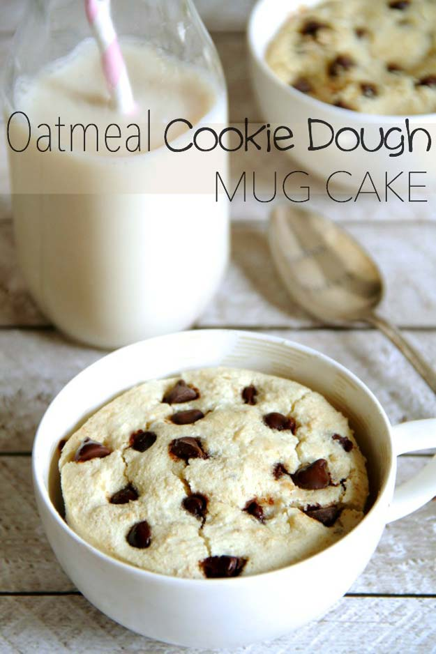 Easy Mug Cake Recipes - Oatmeal Cookie Dough Mug Cake - Best Microwave Cakes and Ideas for Baking Ckae in The Microwave - Chocolate, Vanilla, Healthy, Snickerdoodle, Peanut Butter, Bownie and Nutella - Step by Step Tutorials and Instructions - Besy DIY Projects and Recipes for Teens and Teenagers -