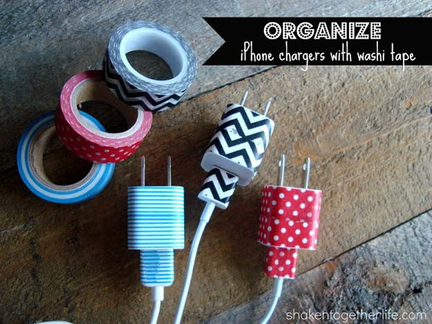 Washi Tape Crafts - Organize Chargers - DIY Projects Made With Washi Tape - Wall Art, Frames, Cards, Pencils, Room Decor and DIY Gifts, Back To School Supplies - Creative, Fun Craft Ideas for Teens, Tweens and Teenagers - Step by Step Tutorials and Instructions http://diyprojectsforteens.com/washi-tape-ideas