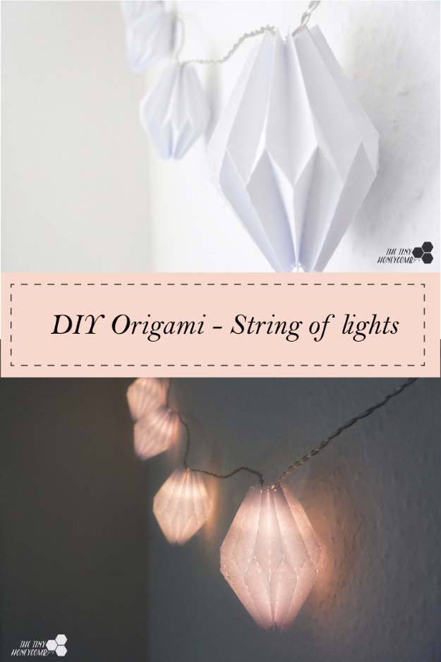 Cool Ways To Use Christmas Lights - Origami String Of Lights - Best Easy DIY Ideas for String Lights for Room Decoration, Home Decor and Creative DIY Bedroom Lighting - Creative Christmas Light Tutorials with Step by Step Instructions - Creative Crafts and DIY Projects for Teens, Teenagers and Adults http://diyprojectsforteens.com/diy-projects-string-lights