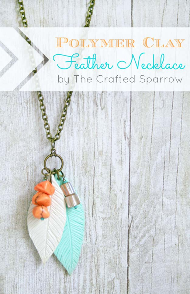 DIY Necklace Ideas - Polymer Clay Feather Necklace - Pendant, Beads, Statement, Choker, Layered Boho, Chain and Simple Looks - Creative Jewlery Making Ideas for Women and Teens, Girls - Crafts and Cool Fashion Ideas for Teenagers http://diyprojectsforteens.com/diy-necklaces