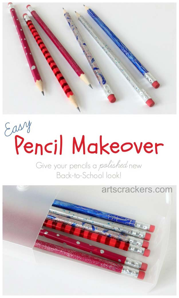 DIY Crafts Using Nail Polish - Painted Pencil Craft - Fun, Cool, Easy and Cheap Craft Ideas for Girls, Teens, Tweens and Adults | Wire Flowers, Glue Gun Craft Projects and Jewelry Made From nailpolish - Water Marble Tutorials and How To With Step by Step Instructions http://diyprojectsforteens.com/best-nail-polish-crafts