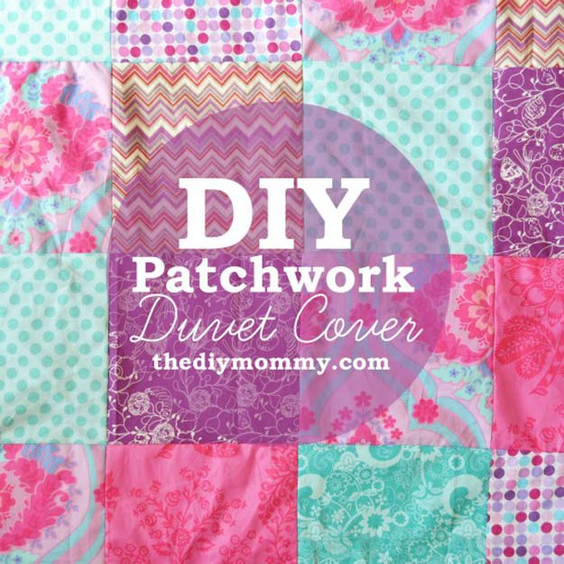 Cool DIY Ideas for Your Bed - Patchwork Duvet Cover - Fun Bedding, Pillows, Blankets, Home Decor and Crafts to Make Your Bedroom Awesome - Easy Step by Step Tutorials for Making A T-Shirt Pillow, Knit Throws, Fuzzy and Furry Warm Blankets and Handmade DYI Bedding, Sheets, Bedskirts and Shams http://diyprojectsforteens.com/diy-projects-bedding-teens