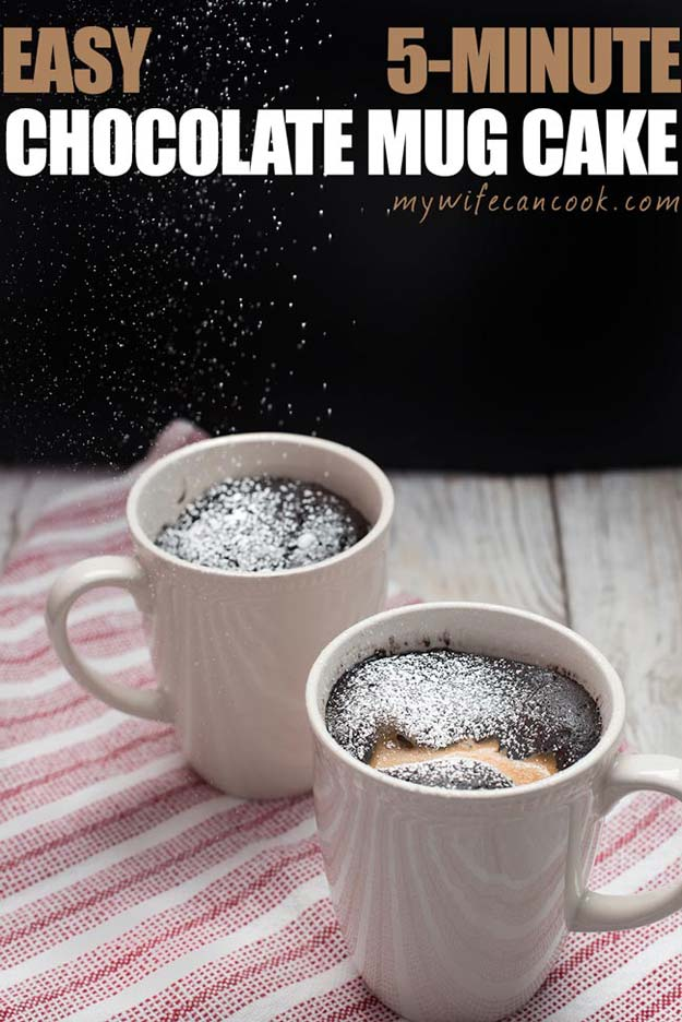 Easy Mug Cake Recipes - Peanut Butter Chocolate Mug Cake - Best Microwave Cakes and Ideas for Baking Ckae in The Microwave - Chocolate, Vanilla, Healthy, Snickerdoodle, Peanut Butter, Bownie and Nutella - Step by Step Tutorials and Instructions - Besy DIY Projects and Recipes for Teens and Teenagers -