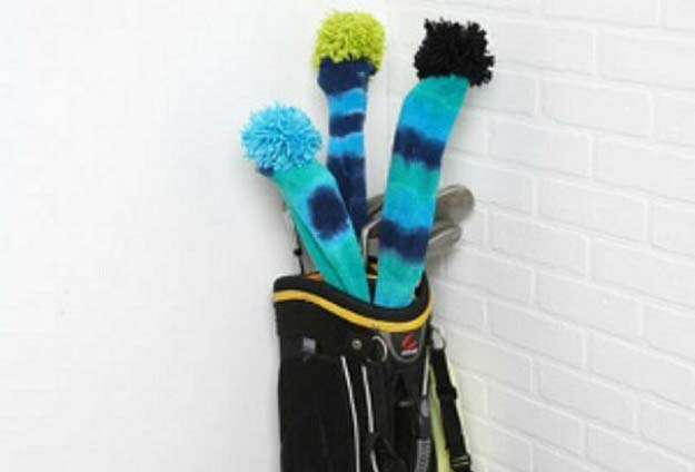 Cool Crafts Made With Old Socks - Psychedelic Golf Club Covers - Fun DIY Projects and Gifts You Can Make With A Sock - Easy DIY Ideas for Teens, Teenagers, Kids and Adults - Step by Step Tutorials and Instructions for Making Room Decor, Animals, Cat, Rabbit, Owl, Puppets, Snowman, Gloves http://diyprojectsforteens.com/diy-crafts-ideas-socks