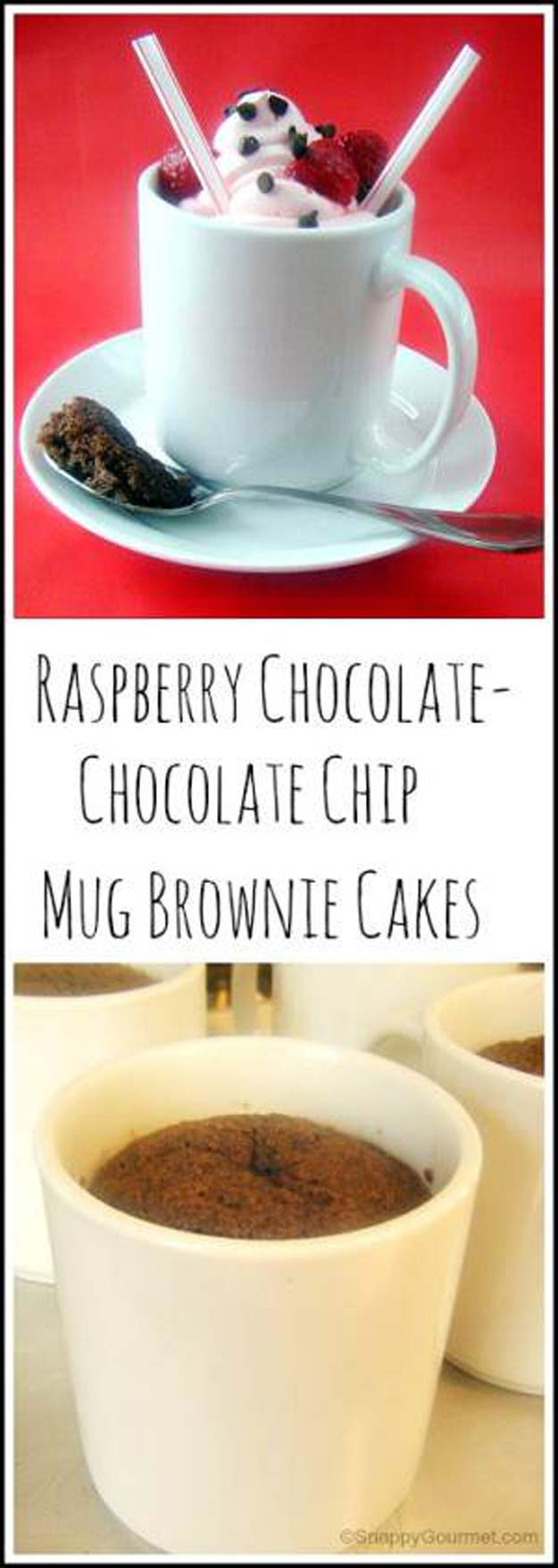 Chocolate Mug Cake Recipes - Raspberry Chocolate-Chocolate Chip Mug Brownie Cakes - Microwave Cake Recipes for Brownies Easy