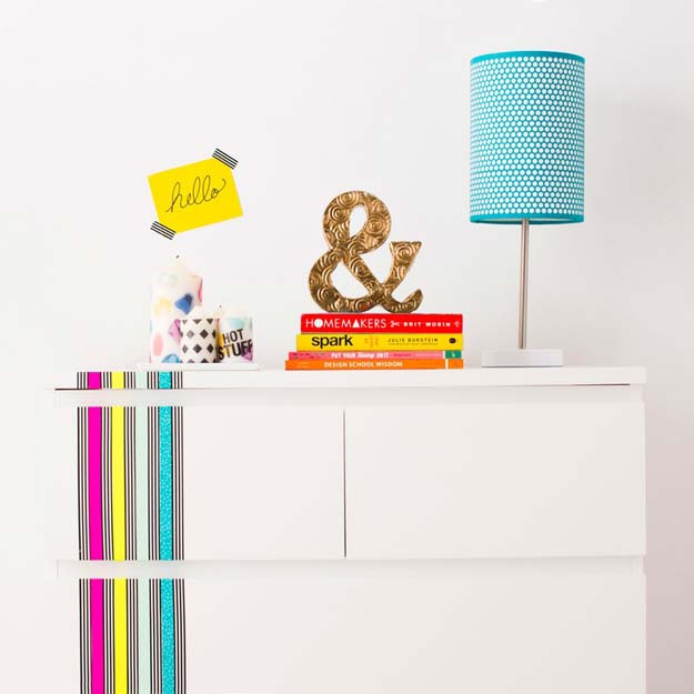 Washi Tape Crafts - How to Use Washi Tape to Revamp Your Furniture - DIY Projects Made With Washi Tape - Wall Art, Frames, Cards, Pencils, Room Decor and DIY Gifts, Back To School Supplies - Creative, Fun Craft Ideas for Teens, Tweens and Teenagers - Step by Step Tutorials and Instructions