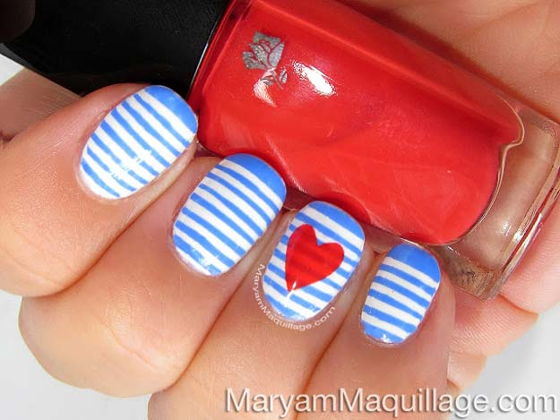 Valentine Nail Art Ideas - Sailor Stripes Nail Art - Cute and Cool Looks For Valentines Day Nails - Hearts, Gradients, Red, Black and Pink Designs - Easy Ideas for DIY Manicures with Step by Step Tutorials - Fun Ideas for Teens, Teenagers and Women http://diyprojectsforteens.com/valentine-nail-art-ideas
