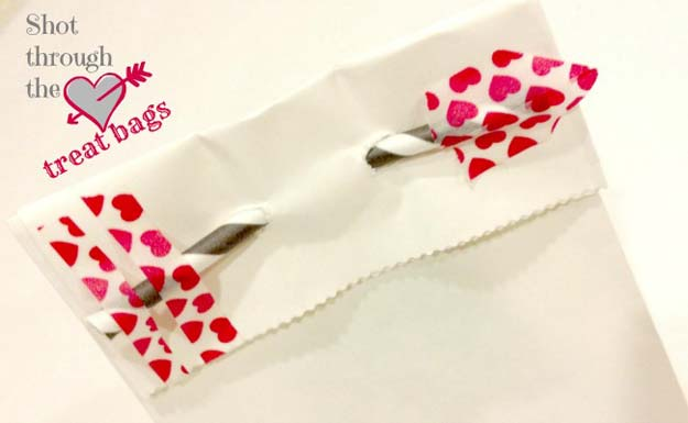 Washi Tape Crafts - Shot Through the Heart Treat Bags - DIY Projects Made With Washi Tape - Wall Art, Frames, Cards, Pencils, Room Decor and DIY Gifts, Back To School Supplies - Creative, Fun Craft Ideas for Teens, Tweens and Teenagers - Step by Step Tutorials and Instructions