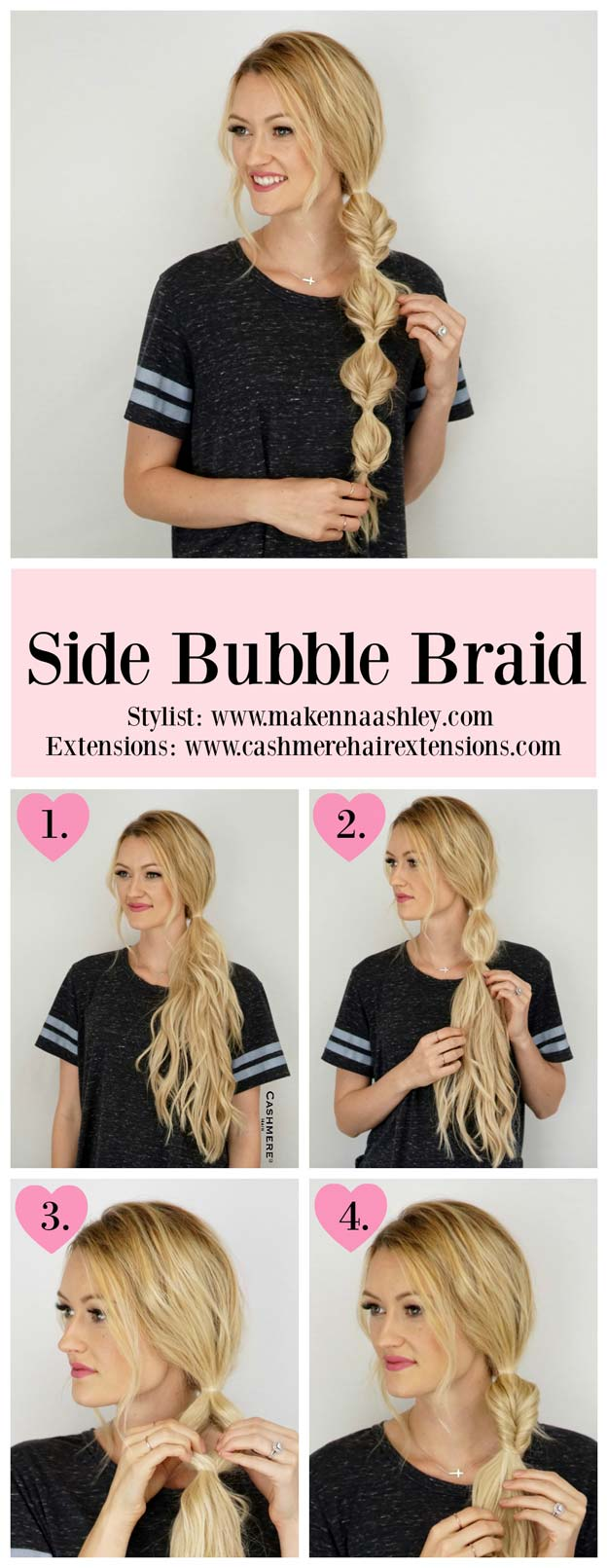Best Hair Braiding Tutorials - Side Bubble Braid Tutorial - Easy Step by Step Tutorials for Braids - How To Braid Fishtail, French Braids, Flower Crown, Side Braids, Cornrows, Updos - Cool Braided Hairstyles for Girls, Teens and Women - School, Day and Evening, Boho, Casual and Formal Looks #hairstyles #braiding #braidingtutorials #diyhair