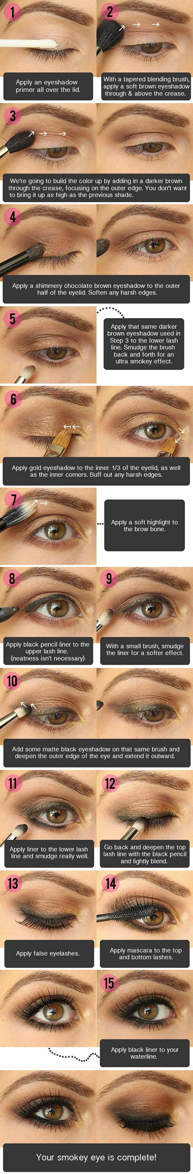 Best Eyeshadow Tutorials - Smokey Brown Eyeshadow - Easy Step by Step How To For Eye Shadow - Cool Makeup Tricks and Eye Makeup Tutorial With Instructions - Quick Ways to Do Smoky Eye, Natural Makeup, Looks for Day and Evening, Brown and Blue Eyes - Cool Ideas for Beginners and Teens http://diyprojectsforteens.com/best-eyeshadow-tutorials