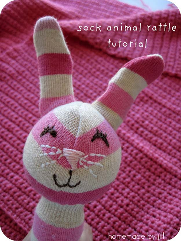 Cool Crafts Made With Old Socks - Sock Animal Rattle Tutorial - Fun DIY Projects and Gifts You Can Make With A Sock - Easy DIY Ideas for Teens, Teenagers, Kids and Adults - Step by Step Tutorials and Instructions for Making Room Decor, Animals, Cat, Rabbit, Owl, Puppets, Snowman, Gloves http://diyprojectsforteens.com/diy-crafts-ideas-socks